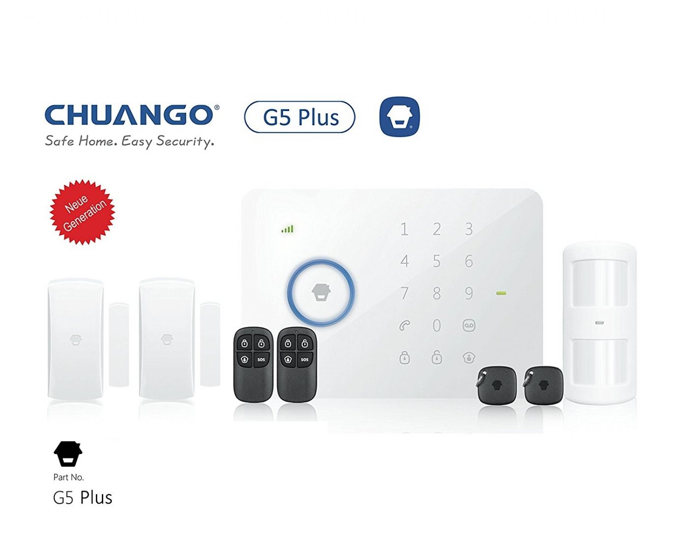 KIT SISTEMA DI ALLARME VIA RADIO APP SMARTPHONE GSM SMS WIRELESS CHUANGO G5 PLUS